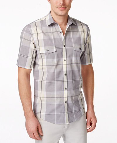 Alfani men 39 s big and tall plaid short sleeve shirt only for Big and tall casual shirts