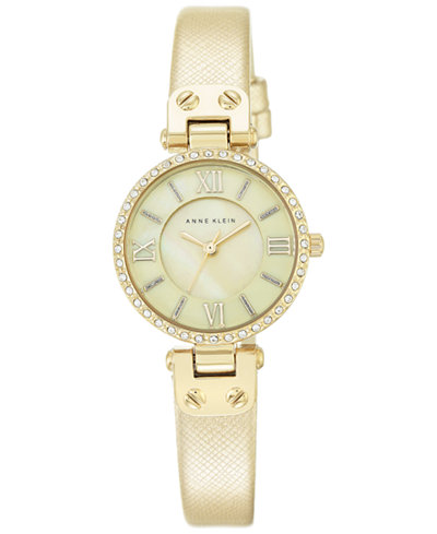 Anne klein women 39 s gold tone textured saffiano faux leather strap watch 28mm ak 2214cmgd for Anne klein leather strap