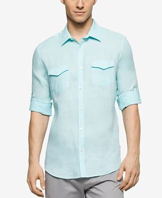 Calvin Klein Men 39 S Roll Tab Long Sleeve Shirt Casual