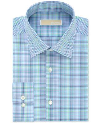 MICHAEL Michael Kors Mens Slim-Fit Non-Iron Aquamarine Check Dress Shirt