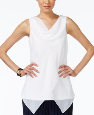 Alfani Cowl-Neck Chiffon Top
