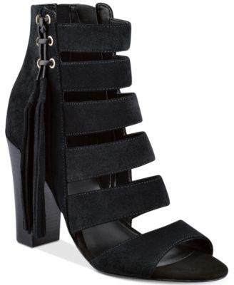 GUESS Womens Blasa Suede Block-Heel Sandals