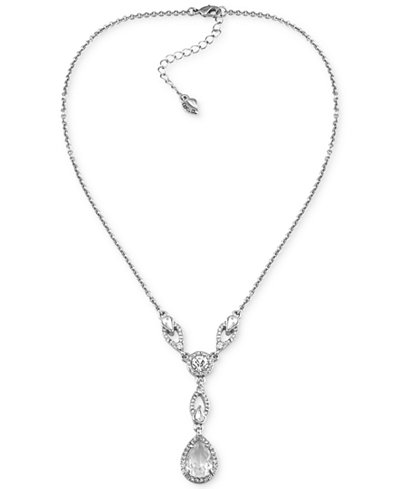 Carolee Silver Tone Crystal Lariat Necklace Jewelry