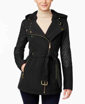 MICHAEL Michael Kors Petite Hooded Asymmetrical Trench Coat