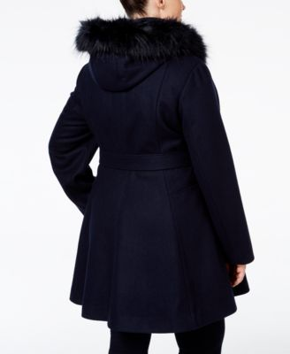 Laundry by Shelli Segal Plus Size Faux-Fur-Trim A-Line Coat