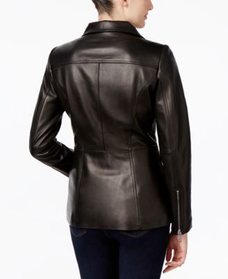 MICHAEL Michael Kors Leather Zip-Front Jacket