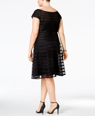 Betsy & Adam Plus Size Mesh Striped A-..