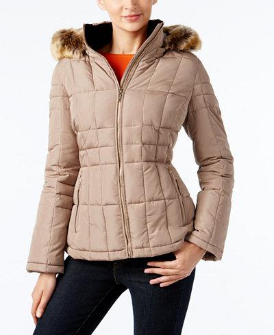 Calvin Klein Faux Fur Trim Hooded Water Resistant Puffer