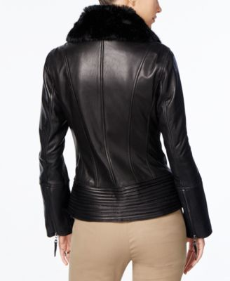 Jones New York Faux-Fur-Collar Leather..