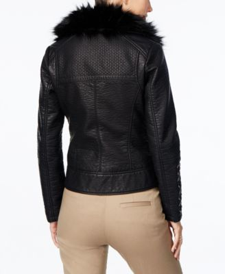 GUESS Faux-Fur-Collar Faux-Leather Mot..
