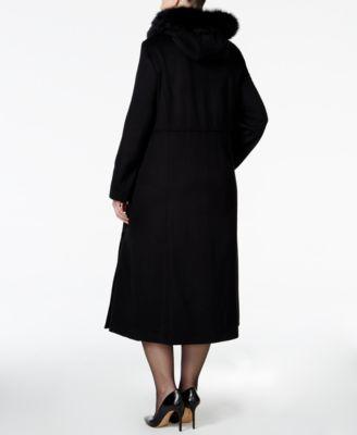 Forecaster Plus Size Fox-Fur-Trim Hooded Maxi Coat