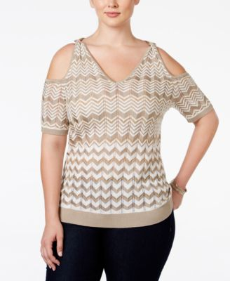 INC International Concepts Plus Size Printed Cold-Shoulder Sweater, Only at Macy's