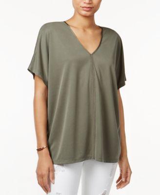 Bar III V-Neck Short-Sleeve Top
