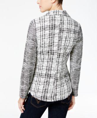Style & Co. Jacquard Plaid Blazer