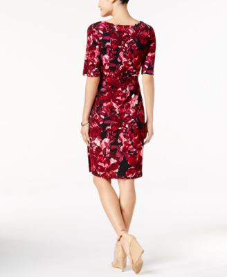 Connected Floral-Print Faux-Wrap Sheat..