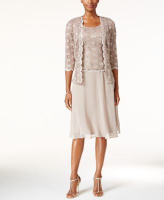 R&M Richards Sequined Lace Chiffon Dress and Jacket