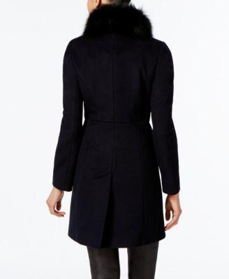 Via Spiga Fox-Fur-Collar Walker Coat