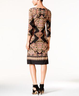 INC International Concepts Petite Printed Sheath Dress