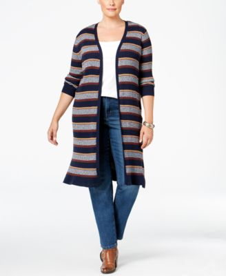Style & Co. Plus Size Striped Open-Front Duster Cardigan, Only at Macy's