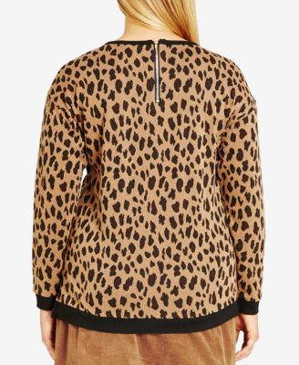 City Chic Plus Size Leopard Lover Printed Sweater