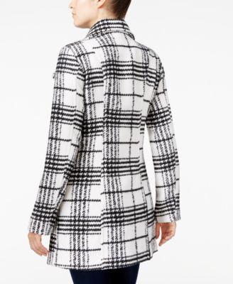 BCX Juniors Plaid Flare-Collar Pea Coat