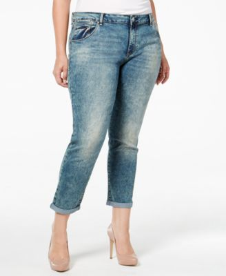 Jessica Simpson Trendy Plus Size Distressed Navy Blue Wash Boyfriend Jeans