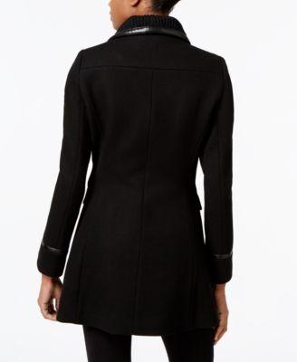 Trina Turk Leather-Trim Knit-Collar Asymmetrical Coat