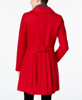 CeCe by Cynthia Steffe Wool-Blend Bow-Detail Walker Coat