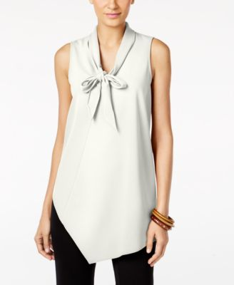 Alfani Petite Bow-Neck Asymmetrical Top