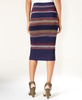 RACHEL Rachel Roy Striped Textured Pencil Skirt
