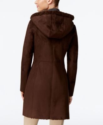 Jones New York Hooded Faux-Shearling Walker Coat Image
