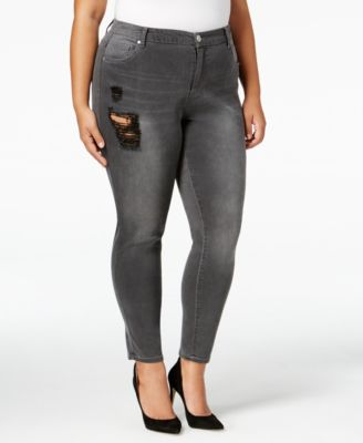mblm by Tess Holliday Trendy Plus Size Gray Wash Ripped Skinny Jeans