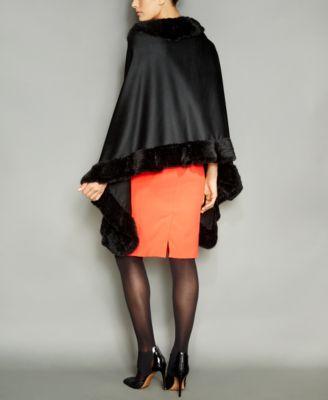 The Fur Vault Knitted Mink-Fur-Trim Wool-Blend Cape