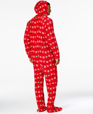 Family Pajamas Mens Supersoft Reindeer Hooded and Footed Pajamas