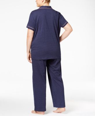 Nautica Plus Size Piping-Trimmed Printed Pajama Set