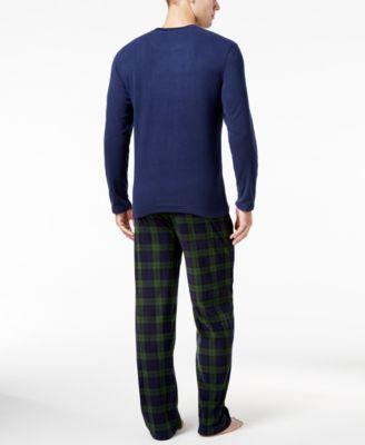 Club Room Mens Blackwatch Fleece Pajama Set