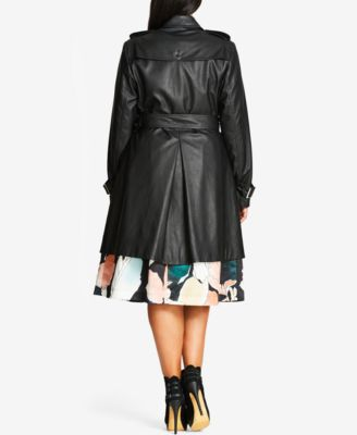 City Chic Trendy Plus Size Faux-Leather Trench Coat