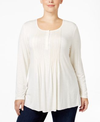 Style & Co. Plus Size Pintucked Henley Top, Only at Macy's