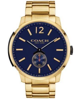 COACH Men's Bleecker Gold-Tone Stainless Steel Bracelet Watch 46mm 14602078