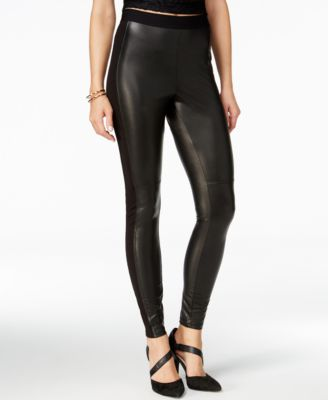 Hue Paneled Faux-Leather Leggings