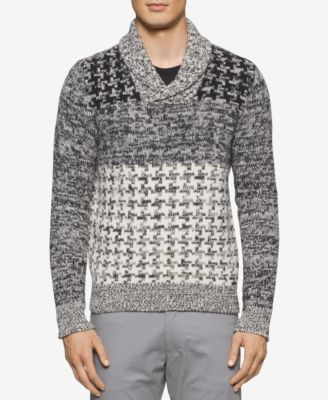 Calvin Klein Mens Slim-Fit Shawl-Collar Multi-Textured Houndstooth Sweater