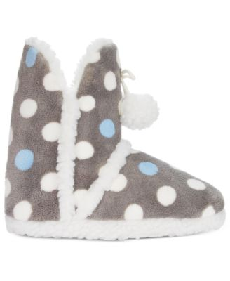 PJ Couture Plush Dot Printed Booties