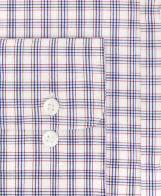 Tommy Hilfiger Mens Classic-Fit Non-Iron Red Check Dress Shirt
