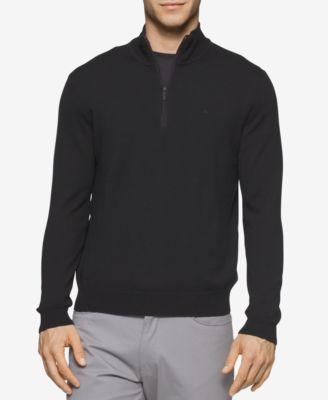 Calvin Klein Mens Merino Wool Quarter-Zip Sweater