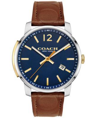 COACH Men's Bleecker Brown Leather Strap Watch 42mm 14602114