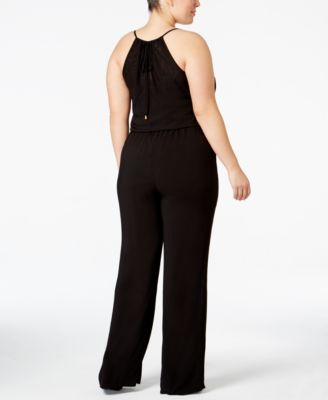 INC International Concepts Plus Size Blouson Wide-Leg Jumpsuit