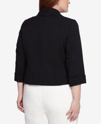 Tahari ASL Plus Size Three-Button Three-Quarter-Sleeve Jacket