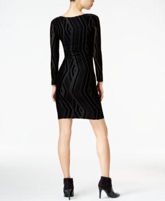 Bar III Velvet-Burnout Bodycon Dress