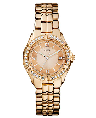 GUESS Watch, Women's Rose Gold-Tone Stainless Steel ...