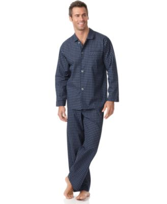 Club Room Mens Big and Tall Navy Check Shirt and Pants Pajama Set